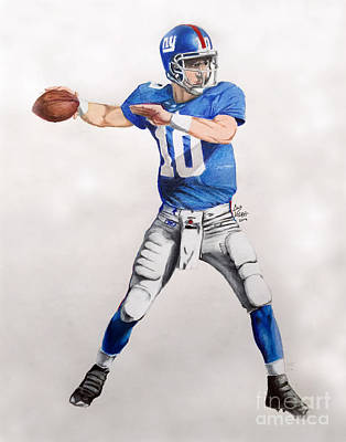 Peyton Manning Drawing - Ny Giants - Eli Manning by Chris Volpe