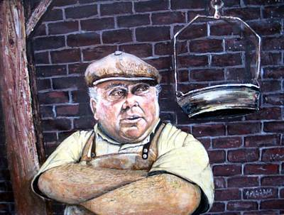 Character Studies Painting - Ny Meat Market by Charles Grissom