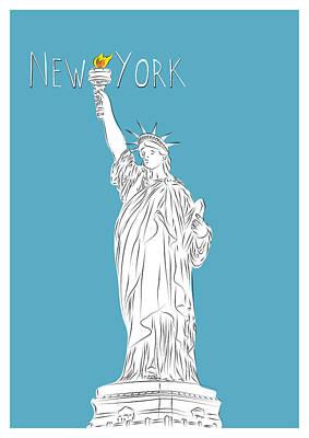 Liberty Island Digital Art - Ny Statue Of Liberty Line Art by Bekare Creative