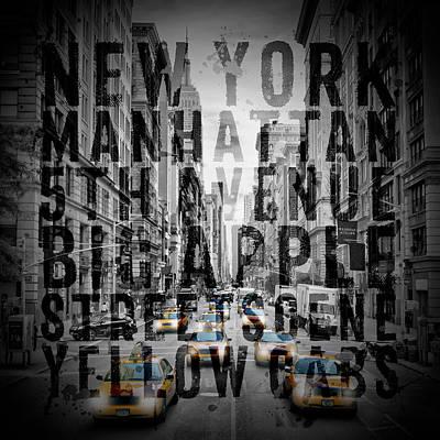 Empire State Building Digital Art - Nyc 5th Avenue Traffic Typography by Melanie Viola