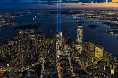 Nyc 911 Tribute In Lights Print by Susan Candelario