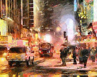 Times Square Digital Art - Nyc At Night by Anthony Caruso