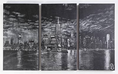 New York City Skyline Drawing - Nyc At Night Original by Nicholas Williams