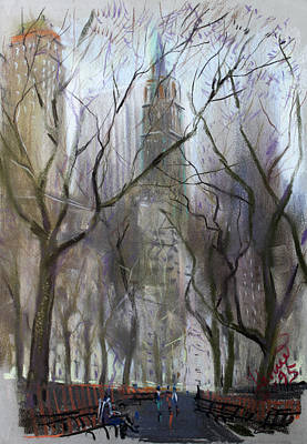 City-scapes Pastel - Nyc Central Park 1995 by Ylli Haruni