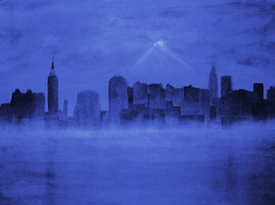 New York City Skyline Painting - Nyc Moon by Ken Figurski