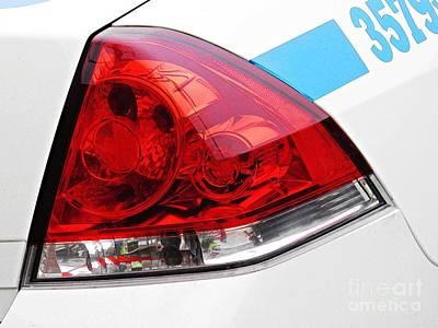 Glass Wall Digital Art - Nyc Police Car Brake Light by Sarah Loft