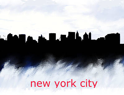 Bronx Mixed Media - Nyc Skyline Blue And Red  by Enki Art