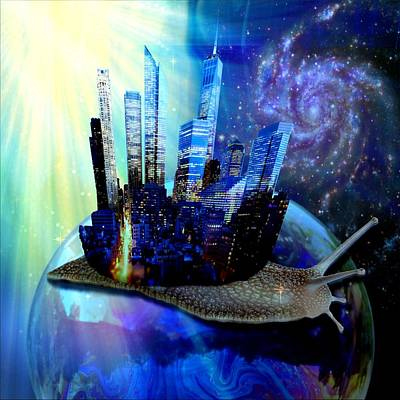 Artful Mixed Media - Nyc Snail - Day And Night by Lilia D