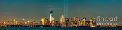 Nyc Tribute In Light Skyline Panorama I Print by Clarence Holmes