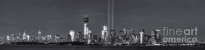 Brooklyn Bridge Photograph - Nyc Tribute In Light Skyline Panorama II by Clarence Holmes