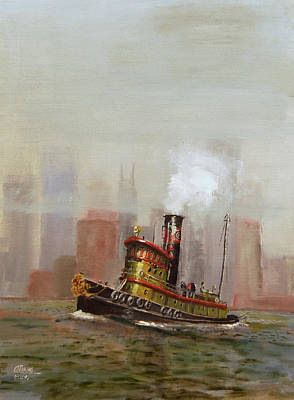 Nyc Tug Print by Christopher Jenkins