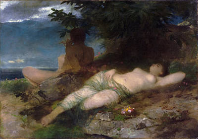 Arnold Boecklin Painting - Nymph And Satyr by Arnold Boecklin