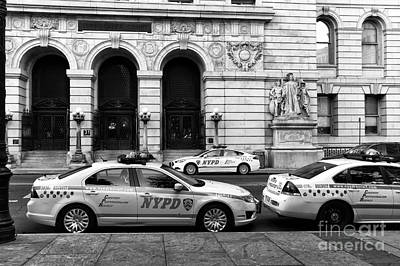 Police Art Photograph - Nypd Cars Mono by John Rizzuto