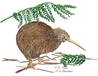 Kiwi Drawing - Nz Native Kiwi Bird by Christina Maassen