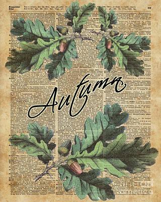 Sepia Digital Art - Oak Tree Leaves And Acorns, Autumn Dictionary Art by Jacob Kuch