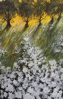 English Gouache Painting - Oak Tree Sunset, Gouache Painting by David K Myers