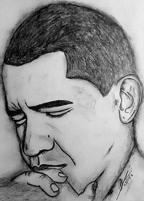 Whitehouse Drawing - Obama 2 by Collin A Clarke