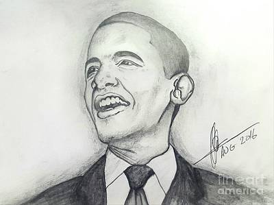 Whitehouse Drawing - Obama 3 by Collin A Clarke
