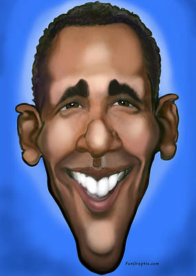 Obama Painting - Obama Caricature by Kevin Middleton