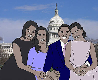 Obama Family Drawing - Obama Family In Washington Dc by Priscilla Wolfe