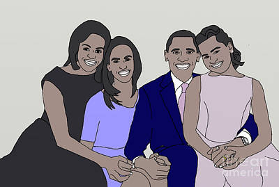 Obama Family Drawing - Obama Family Neutral Background by Priscilla Wolfe