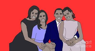 Obama Family Drawing - Obama Family by Priscilla Wolfe
