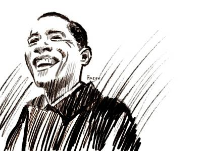 Barack Drawing - Obama by Michael Facey