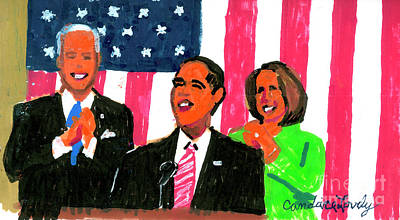 Joe Biden Painting - Obama's State Of The Union '10 by Candace Lovely