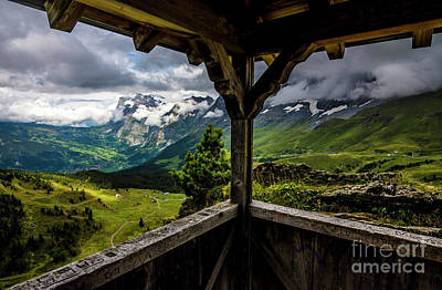 Observing The Grindelwald Valley And Swiss Alps Print by Gary Whitton
