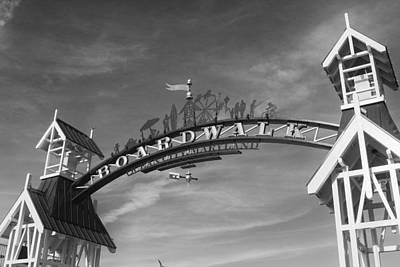 Ocean City Boardwalk Black And White Print by Stephanie McDowell