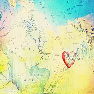 Nj Mixed Media - Ocean City Nj Heart by Brandi Fitzgerald