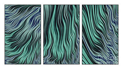 Abstract Shapes Digital Art - Ocean Currents Triptych by John Edwards
