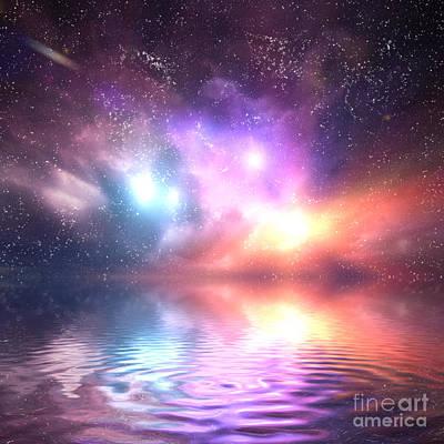 Explosion Photograph - Ocean Under Galaxy Sky by Michal Bednarek