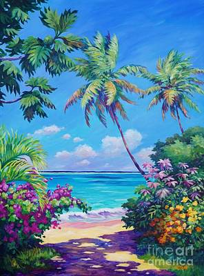 Bahamas Landscape Painting - Ocean View With Breadfruit Tree by John Clark
