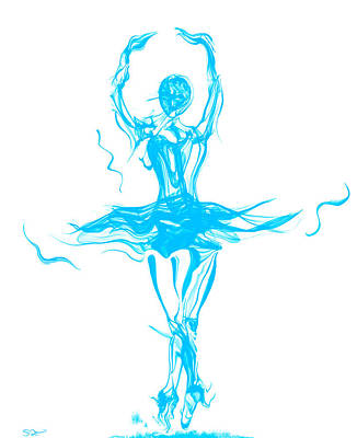 Abstract Movement Drawing - Oceanic Blue Ballerina Twirling by Abstract Angel Artist Stephen K