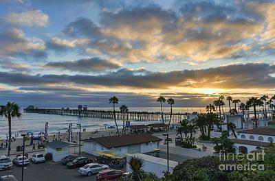 Sun Rays Digital Art - Oceanside Pier At Sunset by Eddie Yerkish