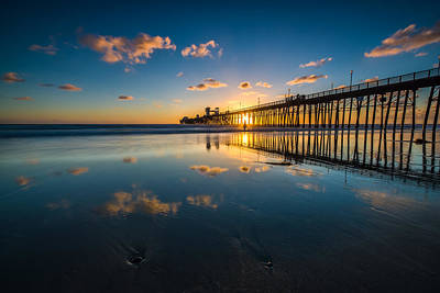 Oceanside Pier Reflections Print by Larry Marshall
