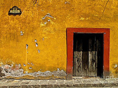 Ochre Wall With Red Door Print by Mexicolors Art Photography
