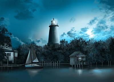 Atlantic Coast Digital Art - Ocracoke Lighthouse Blue by Bekim Art