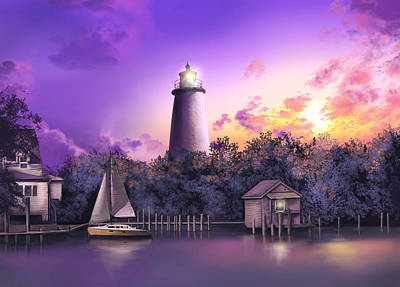 Atlantic Coast Digital Art - Ocracoke Lighthouse by Bekim Art