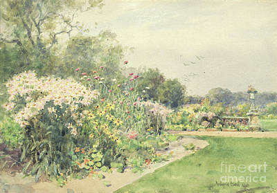Park Scene Painting - October Flowers by Wilfred Williams Ball