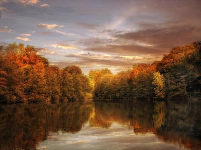 Lakes Digital Art - October Lights by Jessica Jenney