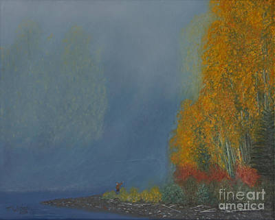 Fly Fisherman Painting - October On The River by Stanza Widen