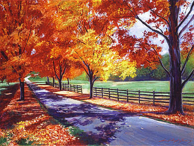 Fallen Leaves Painting - October Road by David Lloyd Glover
