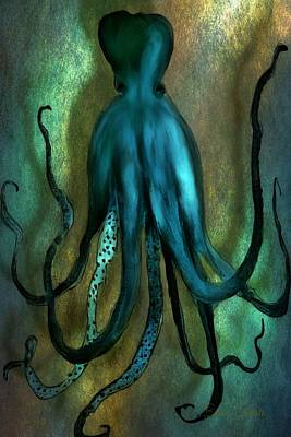 Fantasy Photograph - Octopus Ocean Shadow Dance by Barbara Chichester