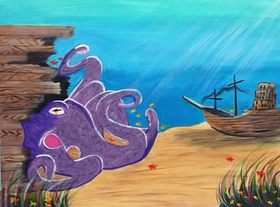 Pirate Ship Painting - Octopus  by Renee Franks