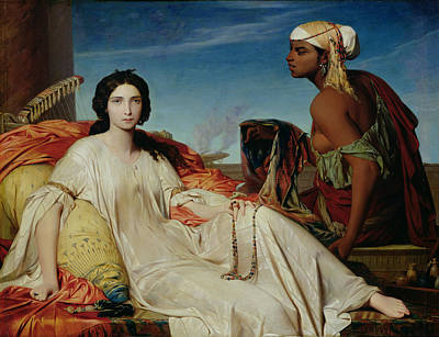 Lute Painting - Odalisque by Francois Leon Benouville