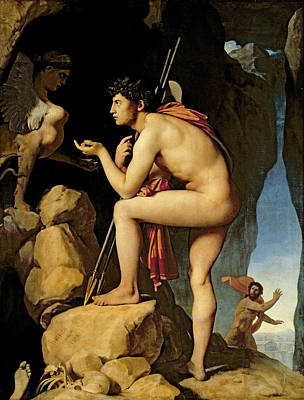 Greek Painting - Oedipus And The Sphinx by Jean Auguste Dominique Ingres