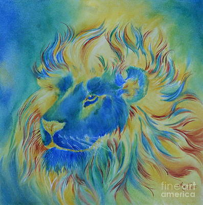 Of Another Color Blue Lion Print by Summer Celeste