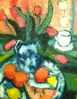 Lif Painting - Of Tulips And Oranges A La Cezanne by Studio Tolere